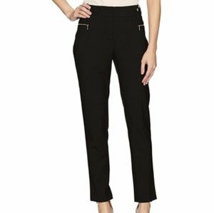 Calvin Klein Black Tapered Skinny Dress Pants Work Career High Waisted Stretchy